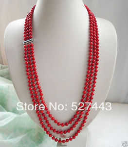 En gros de collection Belle 3 rangée Authentique rouge corail Naturel collier 22 pouces