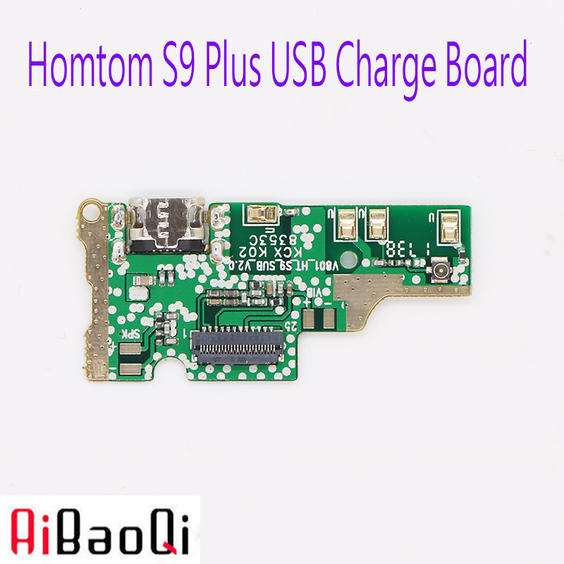 AiBaoQi New Original usb plug charge board For Homtom S9 Plus Mobile Phone Flex Cables charging module cell phone Mini USB Port(China)