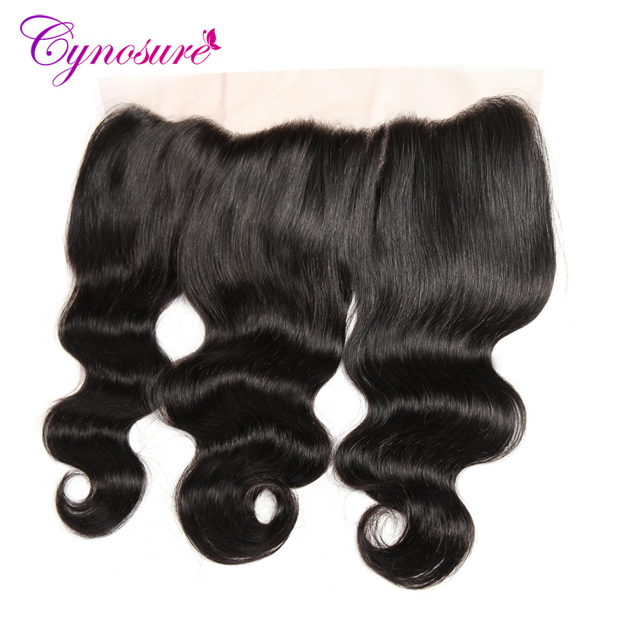 Cynosure Peruvian Body Wave Frontal 100% Human Hair 13x4 Ear to Ear Lace Frontal Closure Non-remy Hair Natural Color Free Part