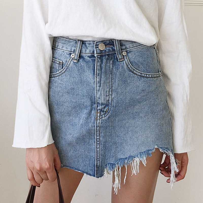 2017 Summer Jeans Skirt Women High Waist Jupe Irregular Edges Denim Skirts Female Mini Saia Washed Faldas Casual Pencil Skirt 1