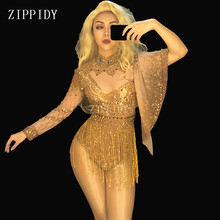 Fashion Sexy Gold Rhinestones Bodysuit Costume Women's sexy Outfit Birthday Party Wear