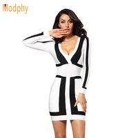 2016 New Arrival Women Sexy Sheath Deep V Full Sleeve Celebrity Bandage Dress Hot Elastic Club