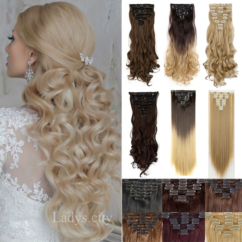 Long thick hair synthetic hair clip in hair extensions curly wavy long thick hair synthetic hair clip in hair extensions curly wavy full head 8pcsset blonde brown 7color natural hair on aliexpress alibaba group pmusecretfo Images