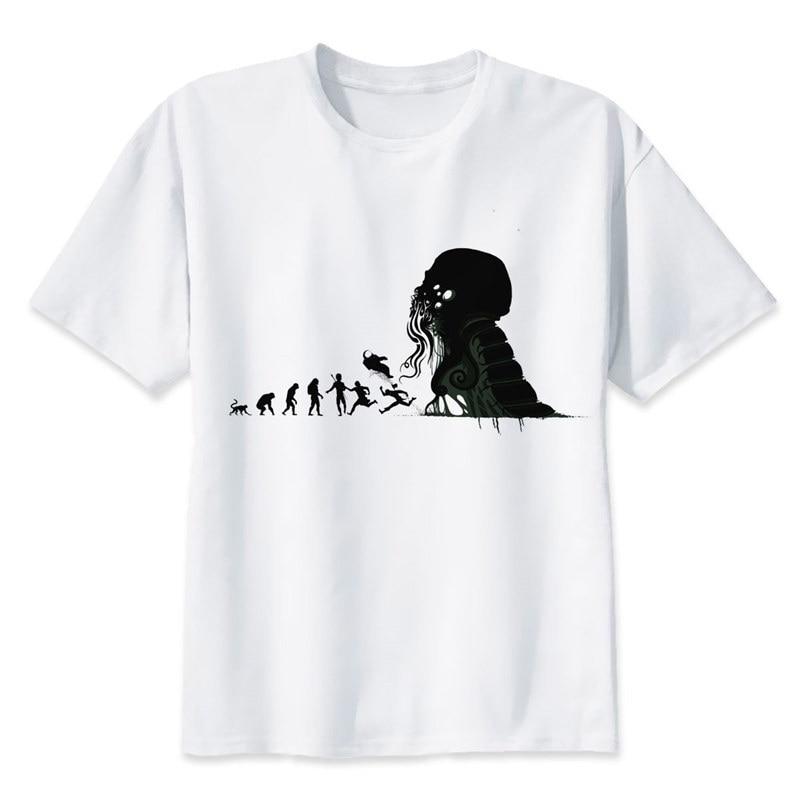 Cthulhu   T     Shirt   men Summer fashion High Quality   t  -  shirt   casual white print O-Neck print male men top tees MR1298