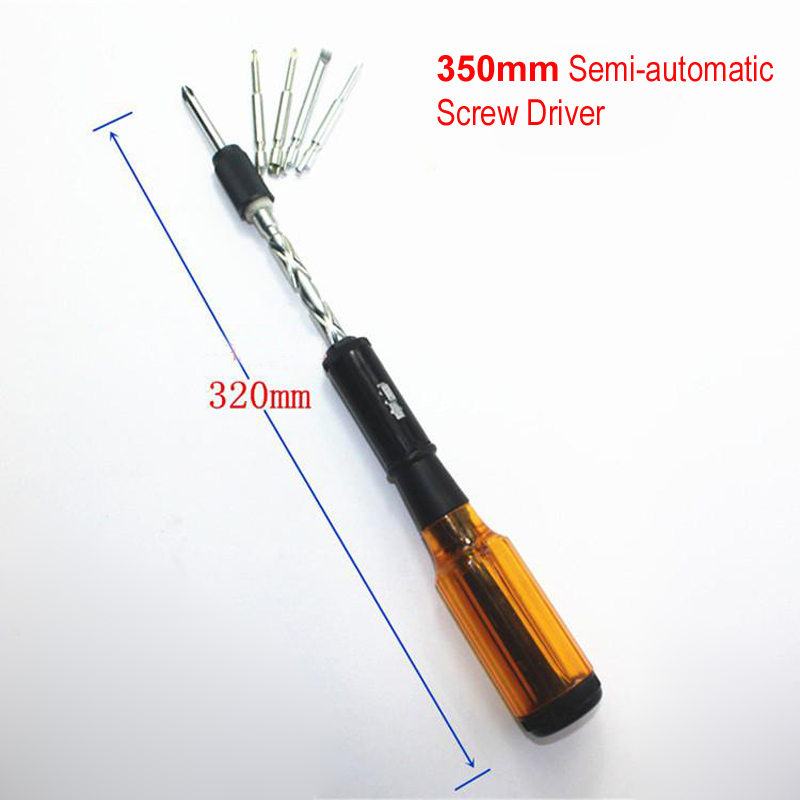 260mm 350mm Semi-automatic Screw Driver Spiral Hand Pressure Type Ratchet Screwdriver With Slotted PH Screwdriver Bits Tools
