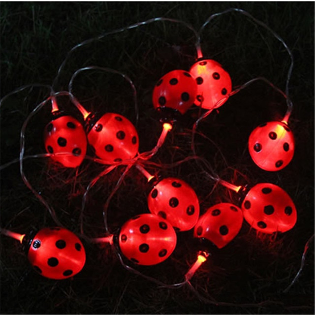Exceptionnel LED Solar Panel Ladybug String Lights Creative New Year Holiday Decoration  Waterproof Festival Landscape Garden Lamp