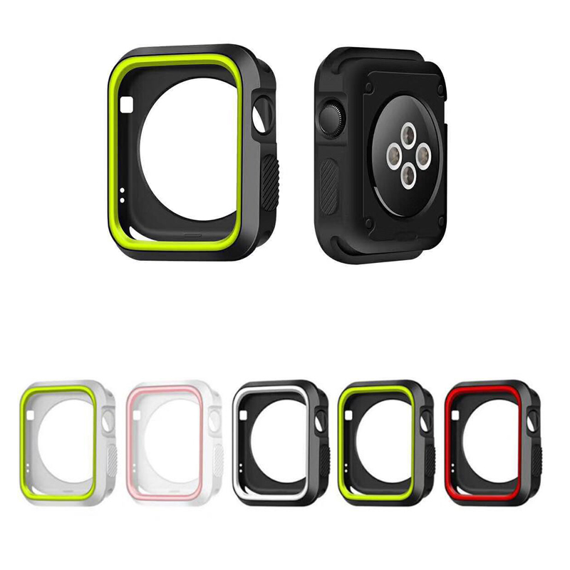 silicone cover for apple watch case 42mm 38mm sport band strap full frame rubber protector soft case for iwatch 3/2/1 back new silicone case watch frame for apple watch series 3 2 1 38mm 42mm watch band full protection case cover for apple iwatch 3 2