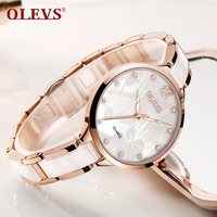 OLEVS Watch Women Rose Gold Ceramics Luxury band Japan Quartz Movement Elegant Fashion Dress Ladies Wrist Watch relogio feminino