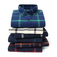 Plaid Stripe Winter Flannel Red Checkered Shirt Men Shirts Long Sleeve Chemise Homme Cotton Male Check Shirts