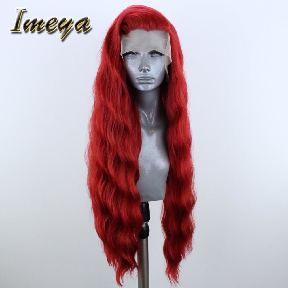 Imeya Long Wavy Synthetic Lace Front Wigs Red Color Half Hand Tied Heat Resistant Replacement Cosplay Wigs For Women