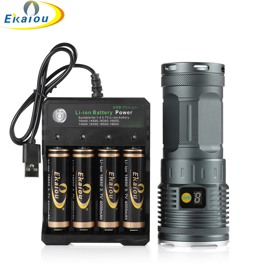 With 8PCS Rechargeable 18650 3.7V Battery and Charger 3PCS 2000LM Super Bright Handheld Flashlight 5 Modes Tactical Torch For Camping,Hiking And Outdoors