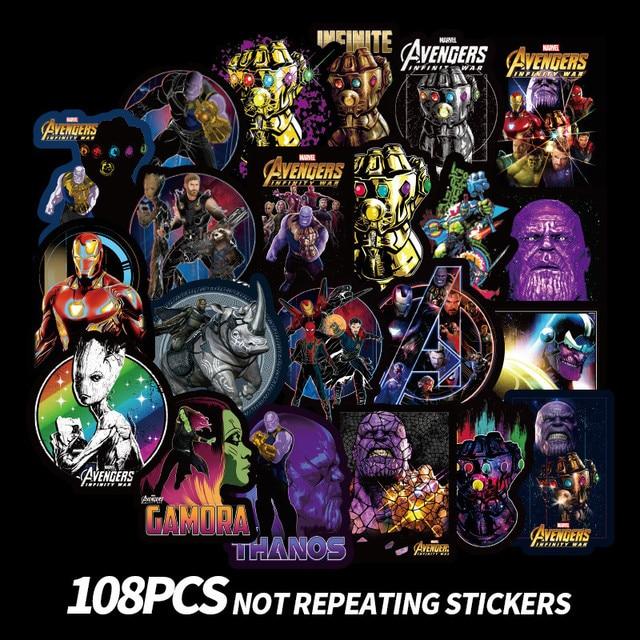 Novos Vingadores Thanos Endgame Marvel Superhero Cosplay Prop PVC Etiqueta 108 Não Repetir pçs/set Crianças Brinquedo Adulto Decoração Autocolante