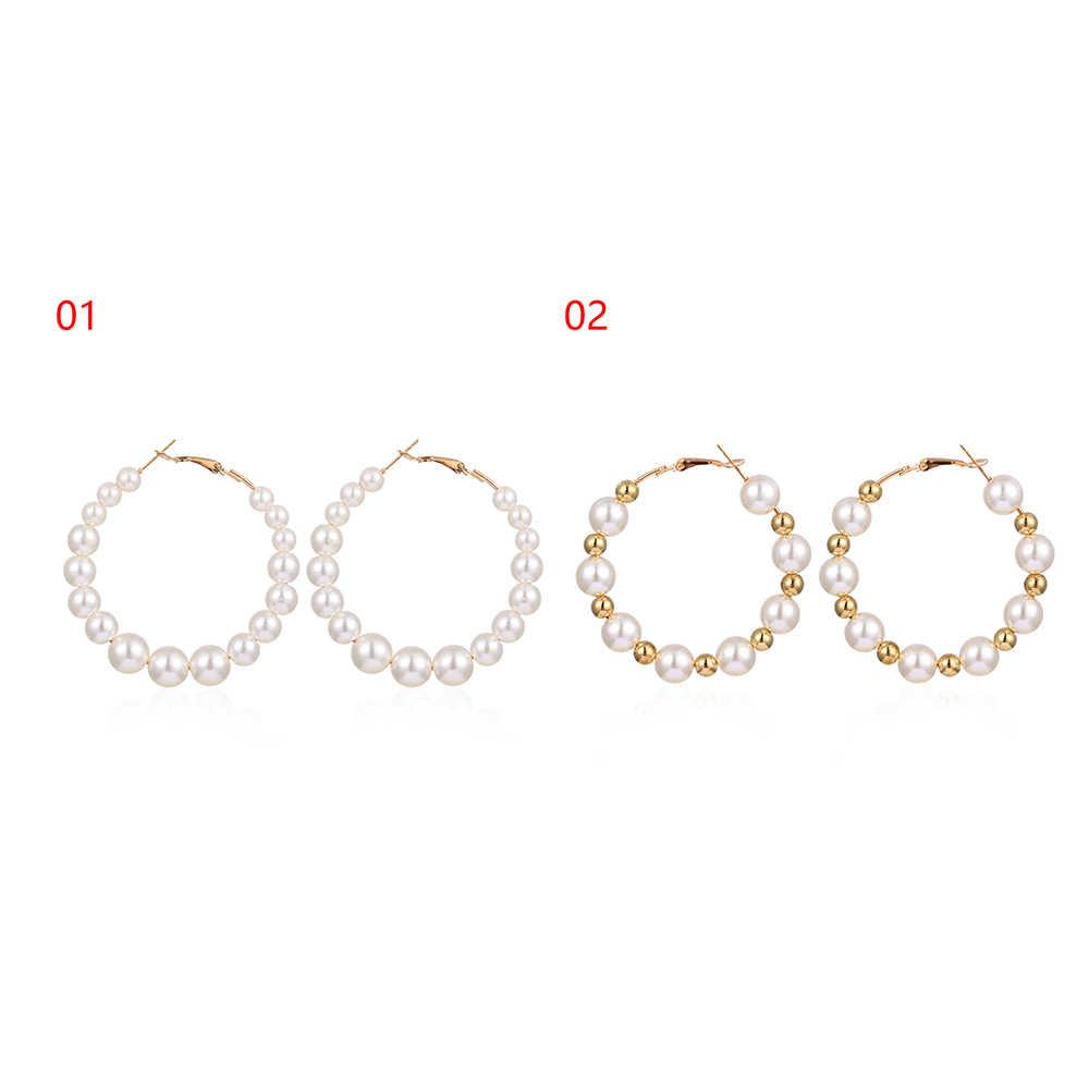 1 Pasang Putih Elegan Mutiara Anting Anting-Anting Wanita Kebesaran Pearl Lingkaran Cincin Telinga Anting-Anting Fashion Perhiasan