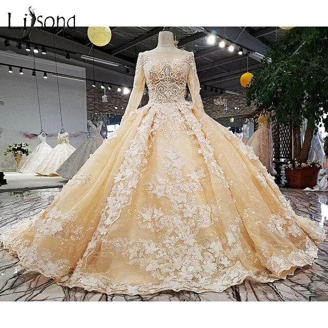 f6b8f52306e Saudi Arabic Muslim Wedding Dresses 2018 Crystal 3D Flower Dubai Bridal  Gowns High Collar Full Sleeves Lace Wedding Gowns