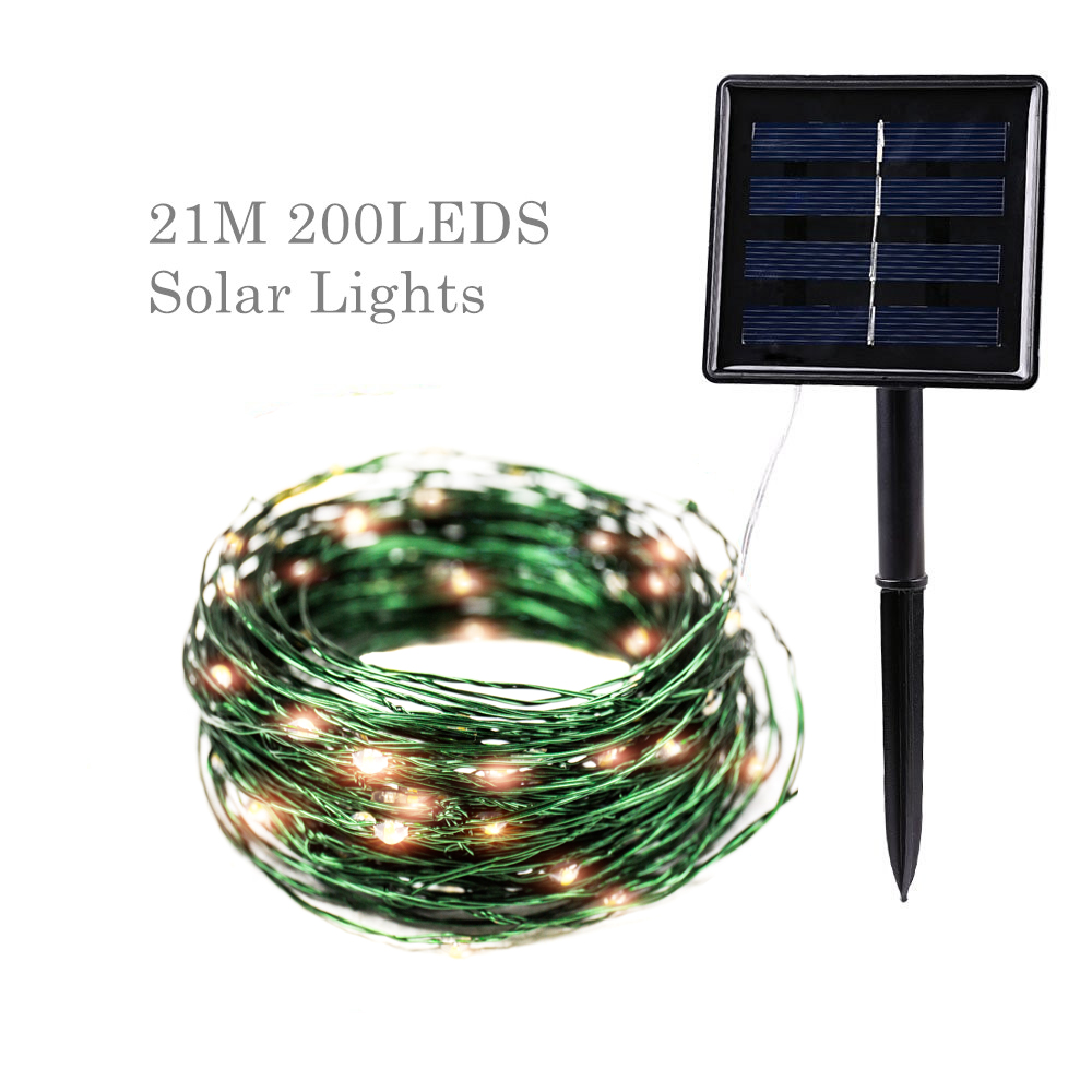 Green Wire Outdoor Solar Tree Lights String 20M LED Fairy Lights Holiday Light Christmas Wedding Garden Party Decoration
