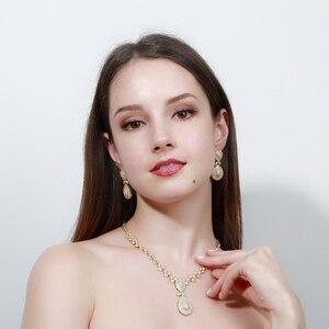 Image 5 - CWWZircons Noble Micro Pave cyrkonie luksusowe dubaj złoty kolor naszyjnik biżuteria ślubna dla nowożeńców zestawy dla kobiet T157