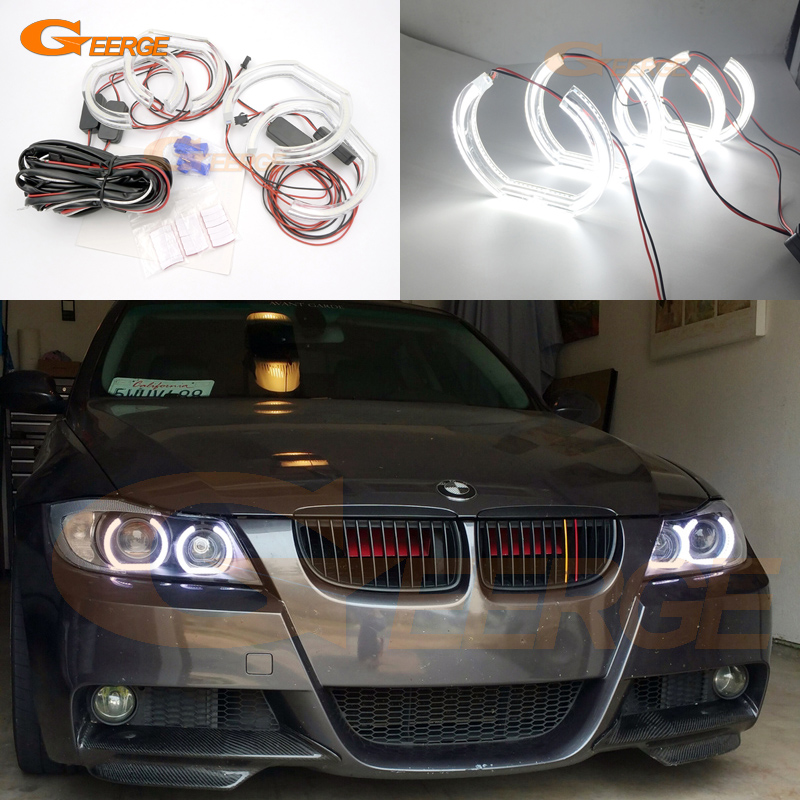 For BMW 3 Series E90 E91 2006 2007 2008 Xenon headlight Excellent DTM Style Ultra bright led Angel Eyes kit for bmw 5 series e60 e61 lci 525i 528i 530i 550i m5 2007 2010 xenon headlight ultra bright drl dtm m4 style led angel eyes kit