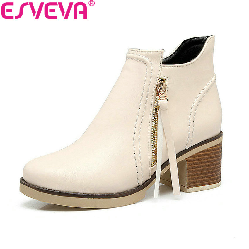 ESVEVA 2018 Women Boots Square High Heel PU Leather Round Toe Ankle Boots Synthetic Appointment Handmade Ladies Boots Size 34-43 esveva 2018 synthetic pu women boots square high heels ankle boots round toe fashion short boots zippers ladies shoes size 34 42