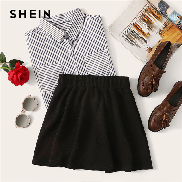 SHEIN Black Elastic Waist Textured Skirt Preppy Plain Fit and Flare A Line Skirts Women Autumn High Waist Short Minimalist Skirt 5
