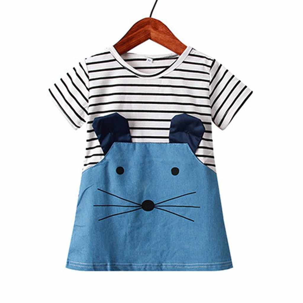 Fashion striped cartoon mouse dress princess dress Girls Short Sleeve Stripe Splicing Cartoon Mouse Dress Clothes F4