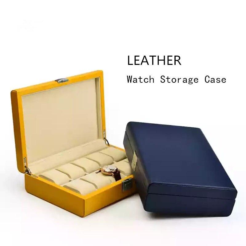 10 fentes en cuir montre boîtiers de rangement boîte avec serrure bleu hommes mécanique montre boîte d'affichage bijoux cadeau boîtier Bracelet WB072