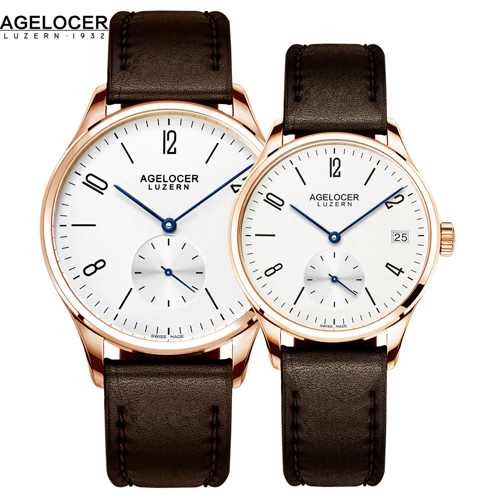 AGELOCER Brand Switzerland Watch lovers Watches Luxury Women Men Dress Watches Leather Wristwatches Fashion Casual Watches Gold keep in touch couple watches for lovers luminous luxury quartz men and women lover watch fashion calendar dress wristwatches