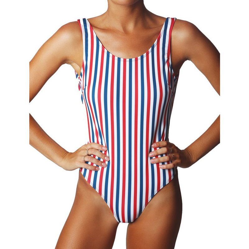2d1964a2b8 Women Multicolor Stripes One Piece Swimsuit High Waist Swimming Suit Silm Backless  Swimwear Sexy Monokini Bathing Suit
