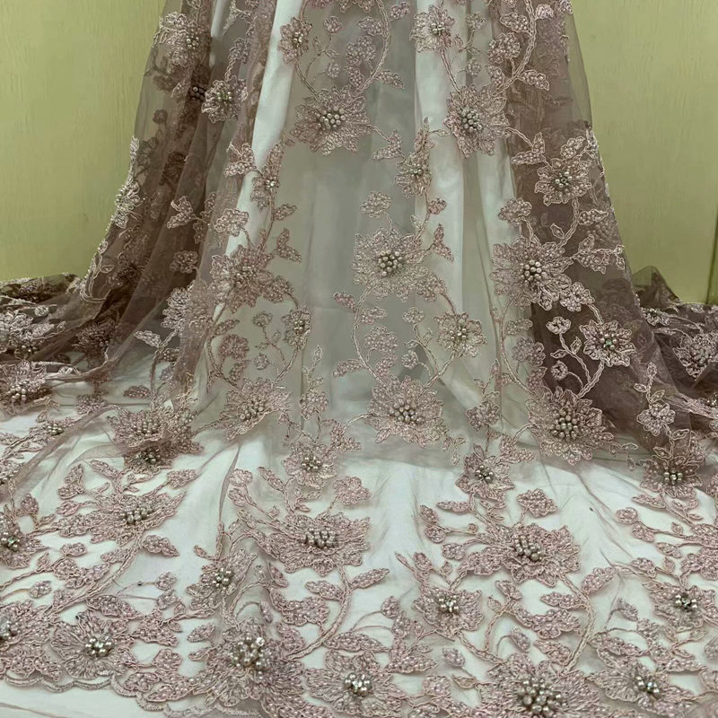 Top grade bridal french net lace African Swiss lace fabric with beads crystal for sewing wedding
