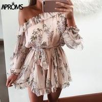 Aproms Ruffles One Shoulder Romer Women Boho Floral Print Chiffon Playsuit High Street Fashion Long Sleeve