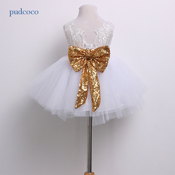 Pudcoco Marke Baumwolle Kinder Baby Mädchen Lace Floral Boknot Kleid Partei Prinzessin Kleider Formale baptismal kleid