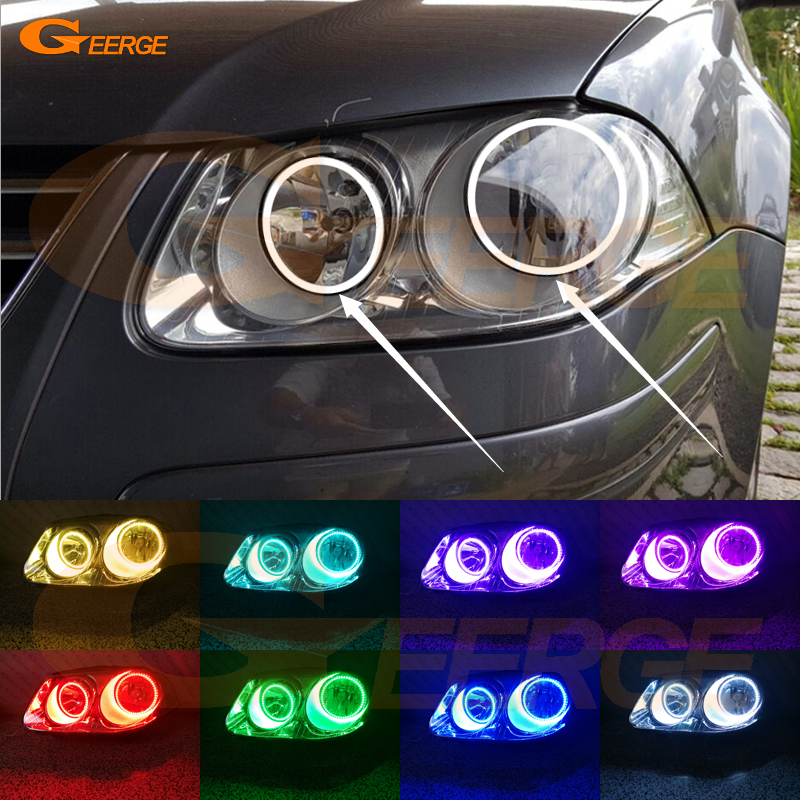 For Volkswagen VW Jetta City MK4 2007 2008 2009 Excellent Angel Eyes Multi-Color Ultra bright RGB LED Angel Eyes kit Halo Rings angel city