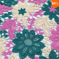 PQYY15 african guipure lace 3 color water soluble chemical lace hollow out fabric for patchwork patchwork fabric cotton