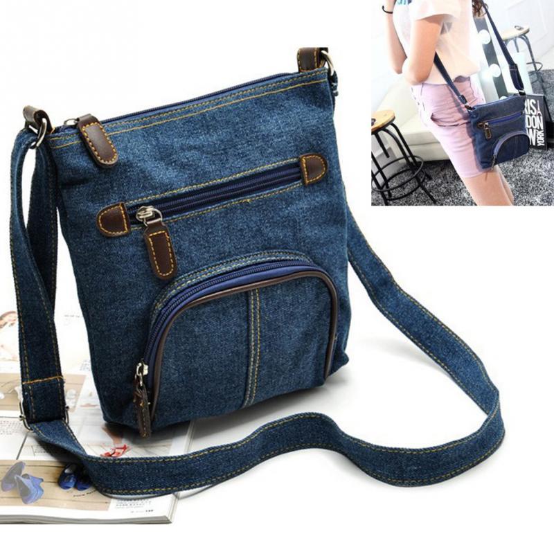 купить New Vintage Denim Shoulder Bag Satchel Bag Bag Women Fashion Cross Body Purse for Ladies Girls недорого