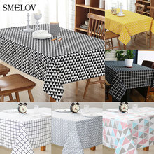 Smelov linen cotton vintage striped plaid tablecloth waterproof rectangle geometric Party kitchen table cover Europe white