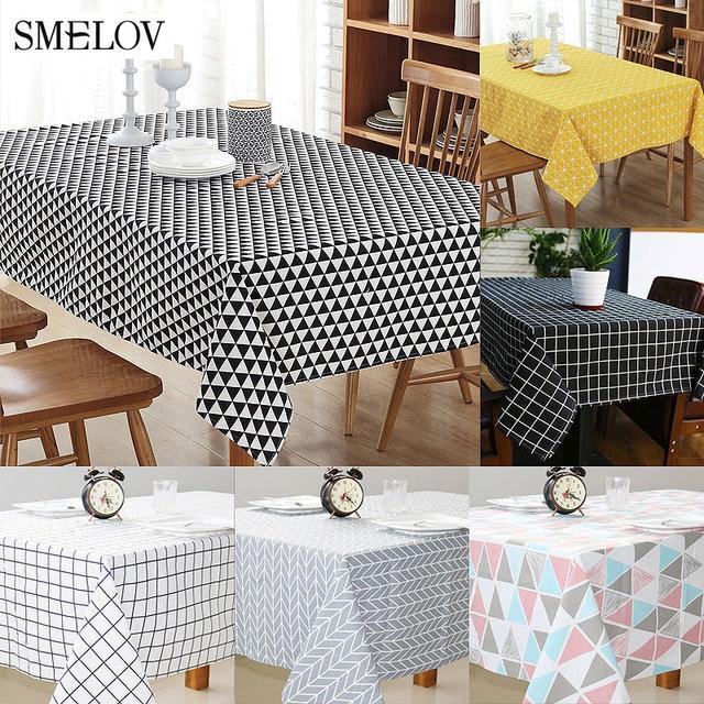 Smelov listrado xadrez toalha de mesa de linho de algodão do vintage retângulo geométrica Partido kitchen table cover Europa branca à prova d' água