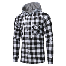Men Plaid Shirt Cotton 2019 Spring Autumn Casual Long Sleeve Black and white plaid hooded shirt Comfort Brand Man Clothes