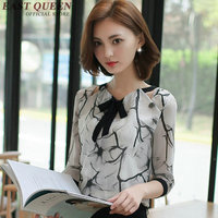 Elegant blouse short sleeve/ three quarter length transparent blouse bow tie office ladies blouse shirt woman tops AA2086Q