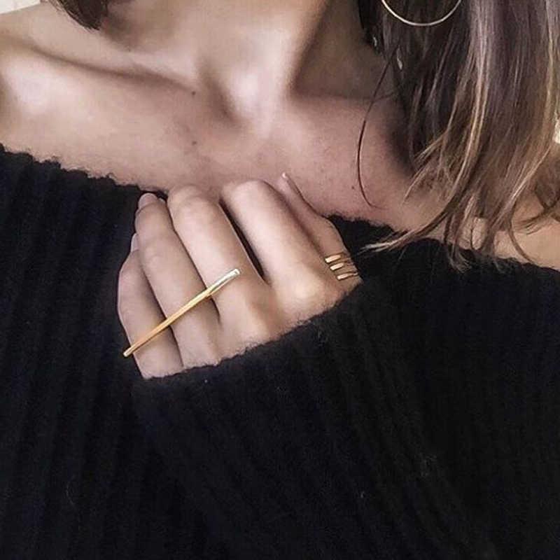 Minimalist บุคลิกภาพยาว Bar One Line แหวน Knuckle แหวนทั้งหมดออกแบบอุปกรณ์เสริม bagues pour femme