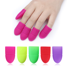 5Pcs Silicone UV Gel Nail Polish Remover Soak Off Caps Reusable Wraps Cover Tip Cleaner Removal Fingernail Nail Art Manicure