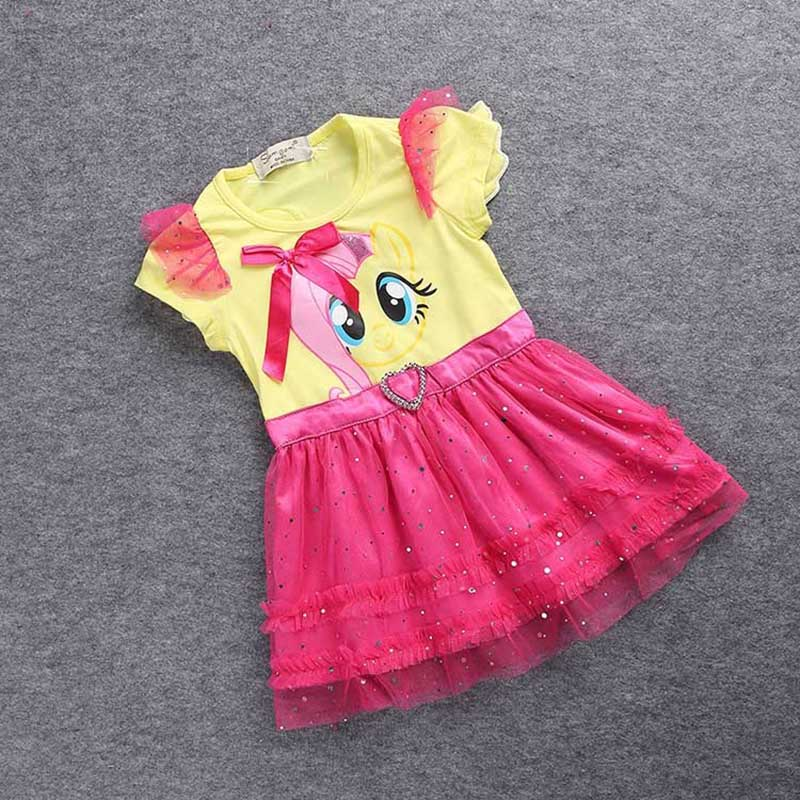 Купить со скидкой SAMGAMI BABY Little Girls New Fashion Color Gauze Dress Girls Tutu Dress My Pony Kids Cartoon Prince