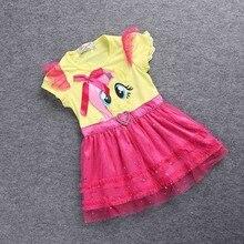 SAMGAMI BABY Little Girls New Fashion Color Gauze Dress Girls Tutu Dress My Pony Kids Cartoon Princess Baby Lace Sequin Dress