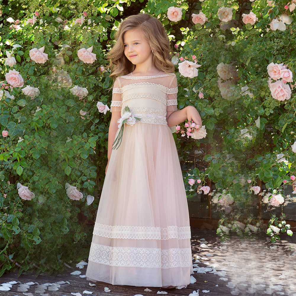 Fancy A-line Gown with Lace Embroidery Handmade Flower Decor Cream-pink Girls Dresses Half Sleeves Forest Vestidos Longo 0-12 a three dimensional embroidery of flowers trees and fruits chinese embroidery handmade art design book