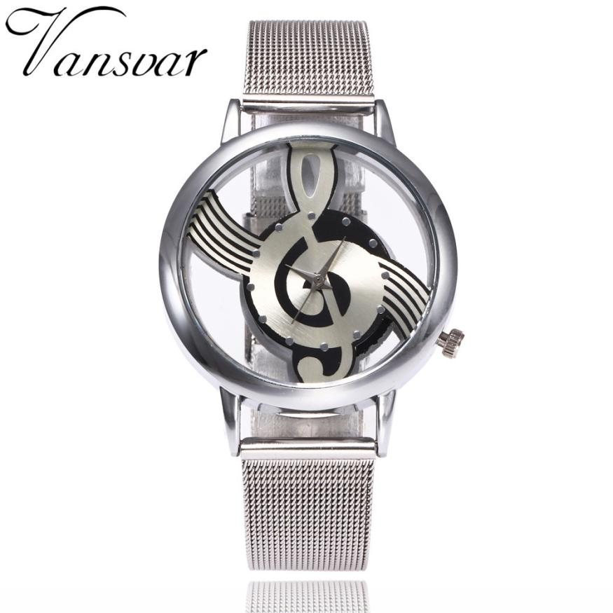 Casual Fashion Women Watches Musical Note Pattern Stainless Steel Band Quartz Analog Wrist Watch Creative Relogio Feminino Nov08 creative star pattern zinc alloy case pu band quartz analog wrist watch for women green brown