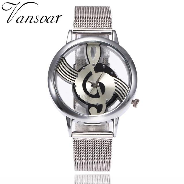 Casual Fashion Women Watches Musical Note Pattern Stainless Steel Band Quartz An