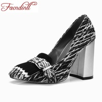 FACNDINLL 2017 Retro Style Autumn Women Handmade Shoes Pumps High Heels Square Toe Genuine Leather Shoes