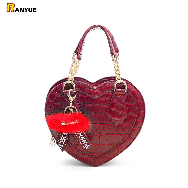 Black Red Crocodile Heart Shape Women Bag Luxury Chain Handbags Women Messenger Bags Designer Female Leather Bolsos Marca Famosa luxury handbags women chain messenger bag lipstick lock designer woman black