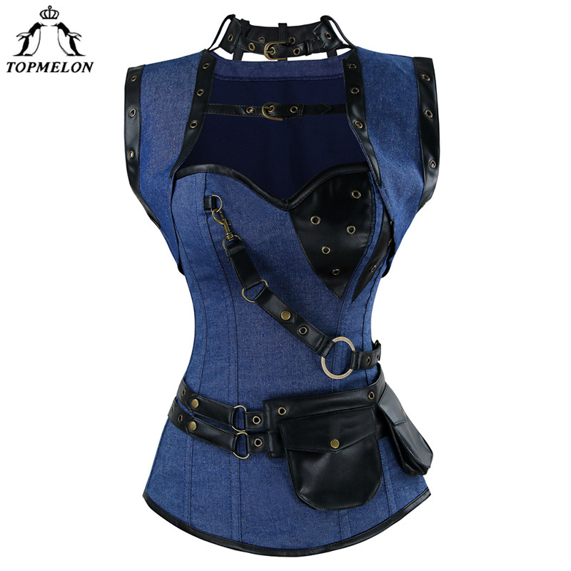 TOPMELON   Bustier   Gothic Corselet   Corset   Women Steampunk   Corsets   and   Bustiers   Blue Choker Pouches Tops for Shows Play Performance