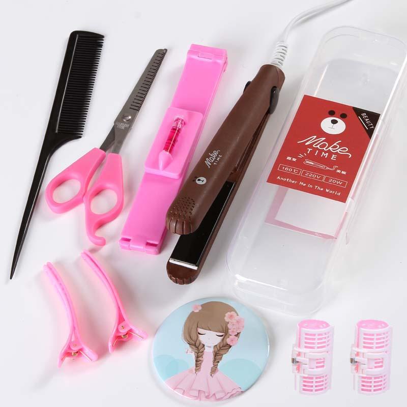все цены на 220V Mini Electric Portable Hair Straightener Cute Hair Curling Iron Haier Curler Styler Tool EU/AU/UK/US Plug онлайн