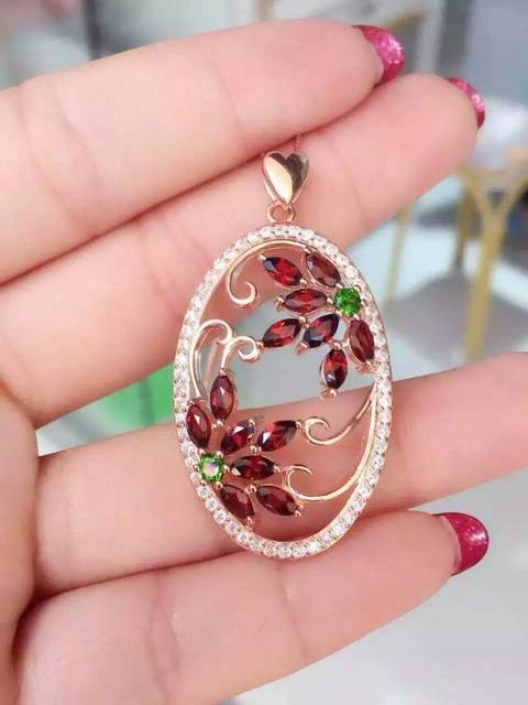 natural garnet pendant 925 Sterling silver Natural diopside Pendant Necklace trendy big Round garden women girl fine jewelry