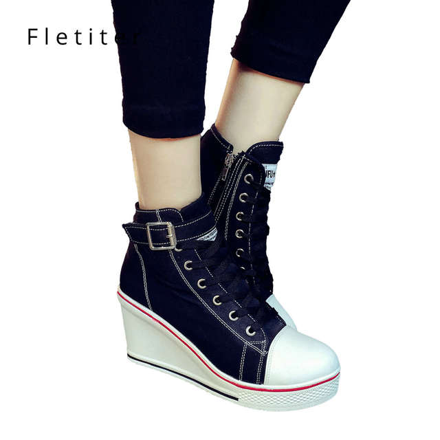 1a4d764525d9 Online Shop Fletiter 2018 Autumn White Shoes For Women Wedges Sneakers  Height increase 10cm Platform Shoes Fashion Elevator High heel Shoes